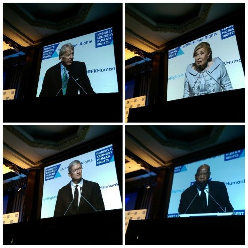 The four honorees of this year's Ripple of Hope Gala: top left: Roger Altman; top right: Marianna Vardinoyannis; bottom left: Tim Cook; bottom right; Rep. John Lewis